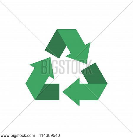 Green Triangular Eco Recycling Symbol. Garbage Utilization Recycle Icon Vector. Made From Recyclable