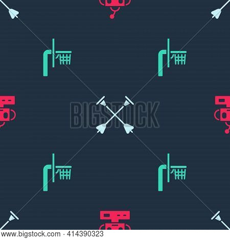 Set Robot Toy, Arrow With Sucker Tip And Basketball Backboard On Seamless Pattern. Vector