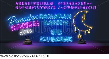 Ramadan Kareem Vector Illustration For The Celebration Of Muslim Community Festival. Glowing Neon Ra