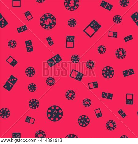 Set Twister Game, Casino Chip With Dollar, Domino And Tetris On Seamless Pattern. Vector