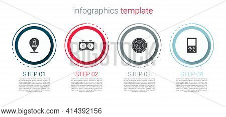 Set Chess, Time Chess Clock, Checker Game Chips And Tetris. Business Infographic Template. Vector
