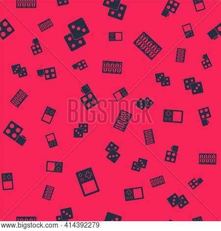 Set Tetris, Game Dice, Toy Building Block Bricks And Board Game On Seamless Pattern. Vector