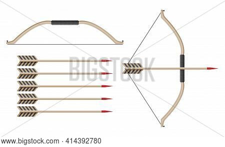 Bow With Arrows For Shooting. Longbow Icon. Cartoon Archery Bow On White Background. Hunters Weapon