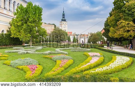 Mikulov, Czech Republic - September 17, 2020: Flowers In The Garden Of The Castle In Mikulov, Czech