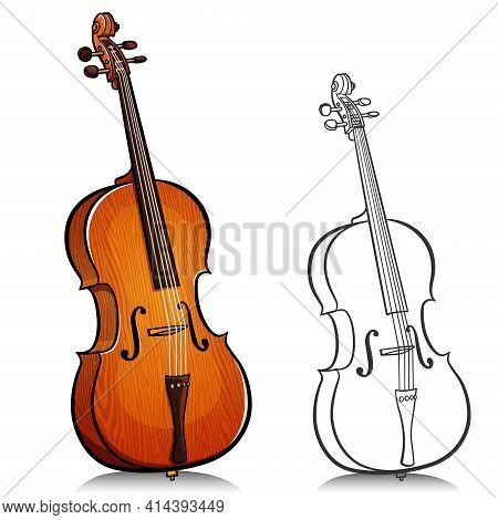 Vector Illustration Of Music Cello Cartoon Design