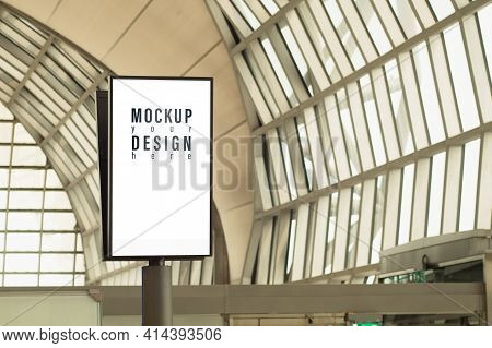 Mockup Light Box With Blank Copy Space Screen For Advertising Or Promotional Poster Content. Blank B