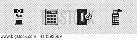 Set Money Plant In The Pot, Calculator, Inserting Coin And Cash Register Machine Icon. Vector