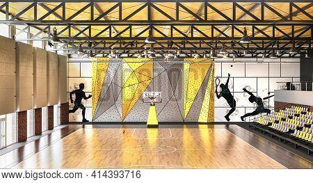 Bucketball Hall In Hight School 3d Illustration