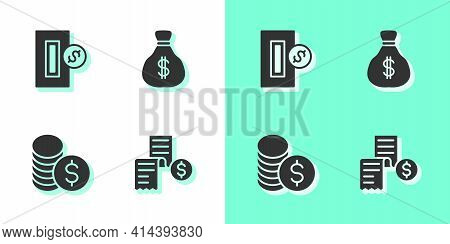 Set Paper Or Financial Check, Inserting Coin, Coin Money With Dollar And Money Bag Icon. Vector