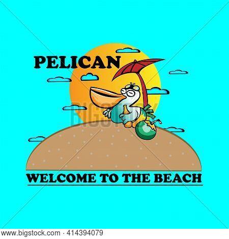 Pelican Design Logo Vector. Illustration Pelican On The Beach