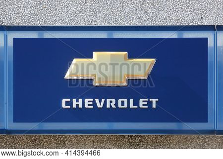 Risskov, Denmark - May 11, 2019: Chevrolet Logo On A Building. Chevrolet Is An American Automobile D