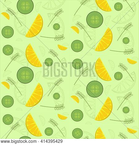 Vector Spring-summer Pattern With Citrus Slices And Cucumber Slices On A Green Background