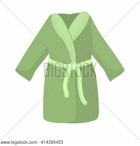 Vector Illustration Of A Green Bathrobe Isolated On A White Background