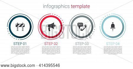 Set Road Barrier, Megaphone, Telephone Call 911 And Ringing Alarm Bell. Business Infographic Templat