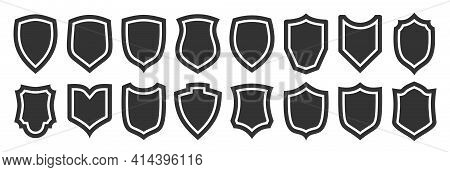 Shield Black Flat Icon Set. Different Shape Guard Security, Privacy Sign, Defense Heraldic Business