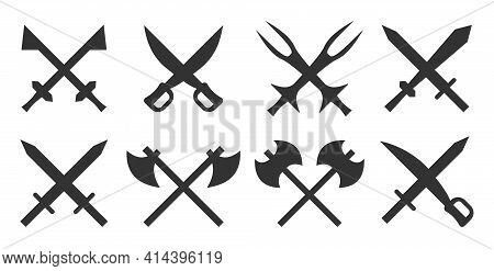 Medieval Weapon Set. Silhouettes Of Crossed Steel Arms, Sword Blade, Sharp Ancient Knife, Vintage Sa