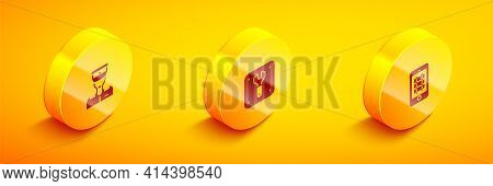 Set Isometric Train Conductor, Repair Of Railway And Buy Train Ticket Online Icon. Vector