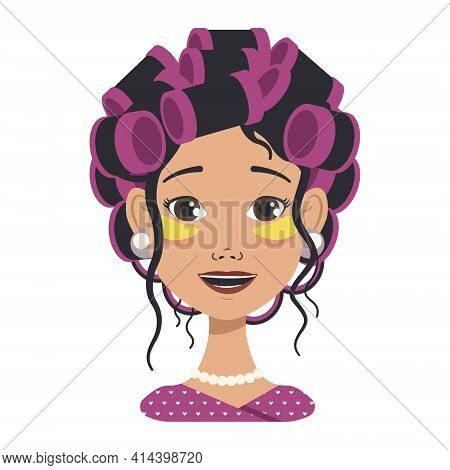 Avatars With Different Emotions. Girl With Pink Curlers And Yellow Patches. Fashion Avatar In Flat V