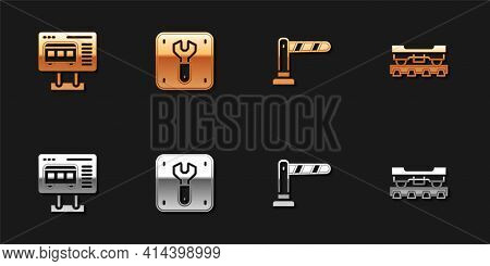 Set Ticket Office To Buy Tickets, Repair Railway, Railway Barrier And Cargo Train Wagon Icon. Vector