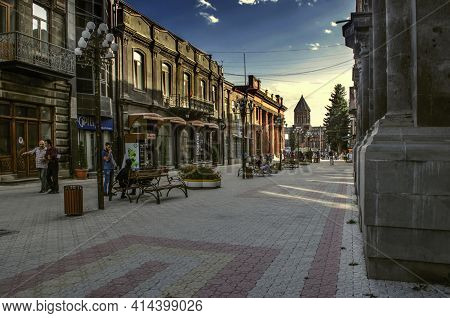 Gyumri,armenia,05 September,2019:pedestrian Street With Old Houses Leading To Vardanants Square Over