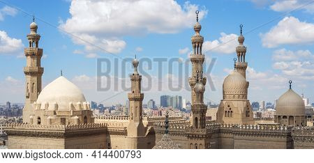 Aerial Day Shot Of Minarets And Domes Of Sultan Hasan Mosque And Al Rifai Mosque, Old Cairo, Egypt