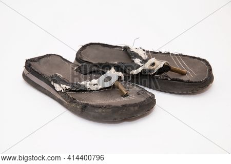Mens Old Black Flip-flops On White For Summer Season