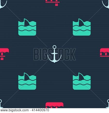 Set Beach Pier Dock, Anchor And Shark Fin In Ocean Wave On Seamless Pattern. Vector
