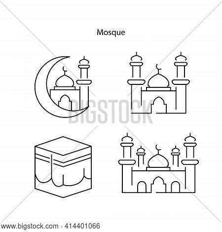Mosque. Mosque Icon Vector Set. Mosque Illustration. Mosque Islamic Symbol. Ramadan Kareem Sign. Mod