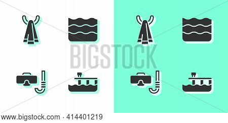 Set Beach Pier Dock, Towel On Hanger, Diving Mask And Snorkel And Wave Icon. Vector