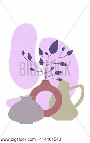 Poster Vases With Branch. Minimalist Wall Banner, For Interior Design, In Calm Pastel Colors. Poster