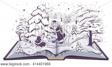 Russian Fairy Tale Morozko Stepmother And Stepdaughter Girl In Winter Forest And Santa Claus. Open B