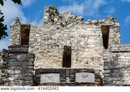 Heron- Or Pelican-like Stucco At Backside Of El Castillo Ruins In Muyil, Quintana Roo, Yucatan Penin