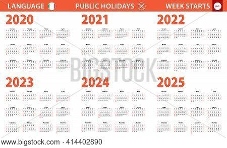 2020-2025 Year Calendar In Italian Language, Week Starts From Sunday. Vector Calendar.