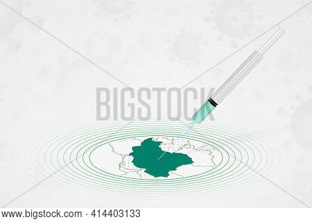 Iran Vaccination Concept, Vaccine Injection In Map Of Iran. Vaccine And Vaccination Against Coronavi