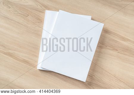 Book Cover Mockup With Blank White Front Paper Page A4 Paperback Mock Up For Catalog, Magazine, Menu