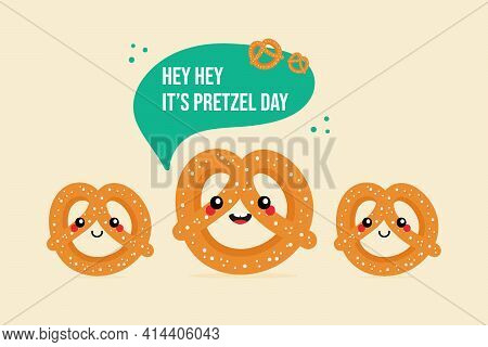 Pretzel Day Greeting Vector Card, Illustration With Three Cartoon Style Pretzel, Knot-shaped Baked P
