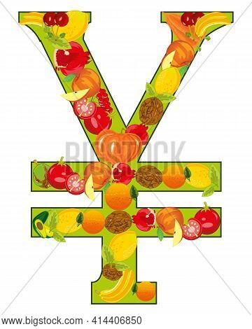 Decorative Sign Yen From Fruit And Vegetables
