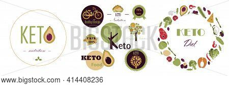 Set Of Vector Keto Logos. Pyramid Of Nutrition On The Keto Diet. Foods, Calculation Of Water, Bevera