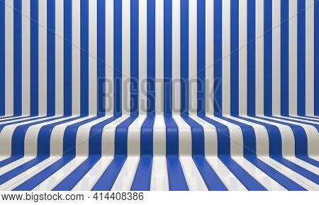 Realistic Abstract Geometric Background With Blue And White Convergence Stripes With Shadows And Gla
