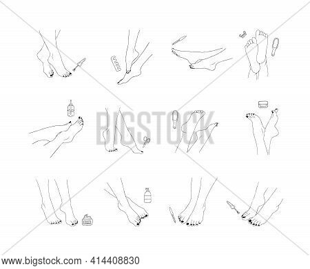 Pedicure Icon. Nail Polish And Nail File. Vector Illustration Of Elegant Female Feet In A Trendy Min