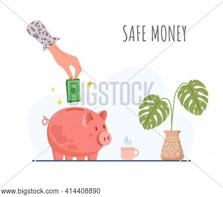 Piggy Bank. Female Hand Puts Green Banknotes In Money Box. Save Money Concept. Investments In Future