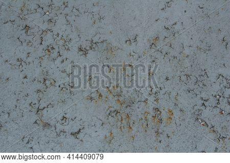 Textured Metal Sheet With Peeling Gray Paint, Metal Corrosion, Rust On Metal