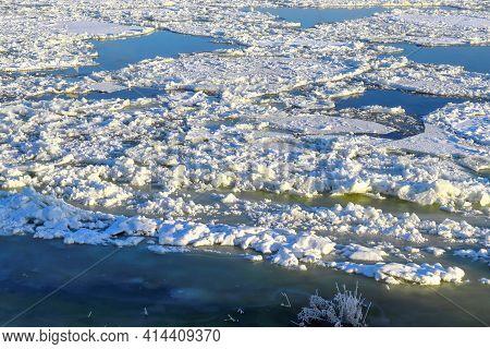 Winter Ice Drift On The River In Neman