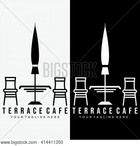 Terrace Cafe Logo Vector Illustration Design. Street Terrace Cafe Brand Logo