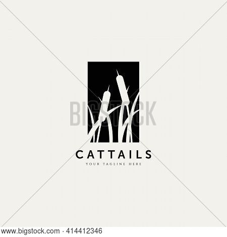 Cattails Plant Silhouette Logo Vector Illustration Design Template. Minimalist Simple Logo Concept