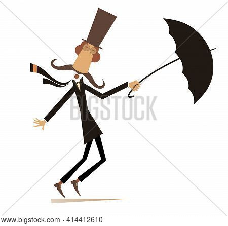 Long Mustache Man Stays On The Strong Wind Illustration. Strong Wind And A Long Mustache Man In The