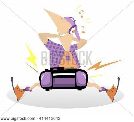 Teenager, Boom Box And Loud Music Illustration.  Cartoon Funny Teenager With Headphones On The Head