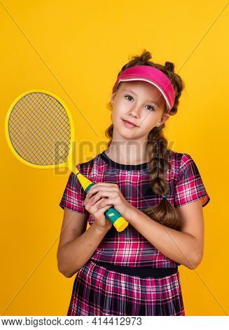 Healthy Sporty Tween Girl Hold Tennis Racket, Badminton
