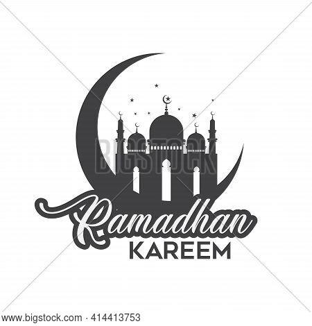 Ramadan Kareem Background. Ramadan Kareem Vector, Mosque Silhouette Islamic. Translation Ramadan Kar