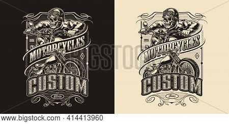 Custom Motorcycle Vintage Monochrome Emblem With Classic Motorbike And Skeleton Biker Riding Motorcy